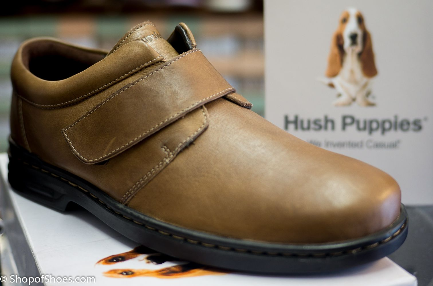 Hush Puppies Mens soft leather velcro